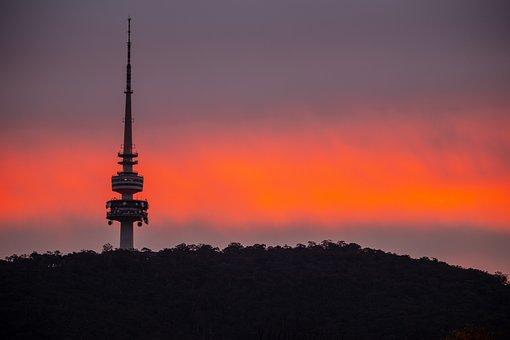 Sunset, Sky, Orange, Nature, Canberra, Tower