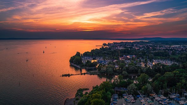 Lake Constance, Sunset, Luftbildaufnahme, Water, Lake