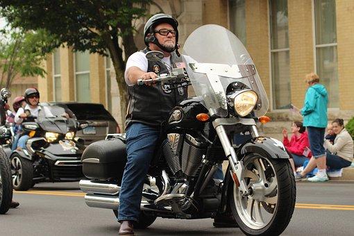 Motorcycle, Biker, Memorial Day, Parade, Proud, Travel
