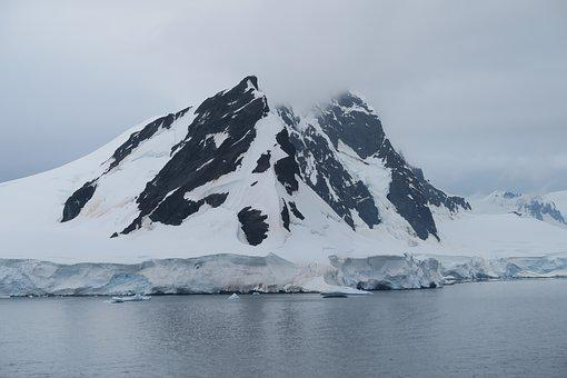 Antarctica, Ice, Snow, Mountains, Black, Sea, Landscape