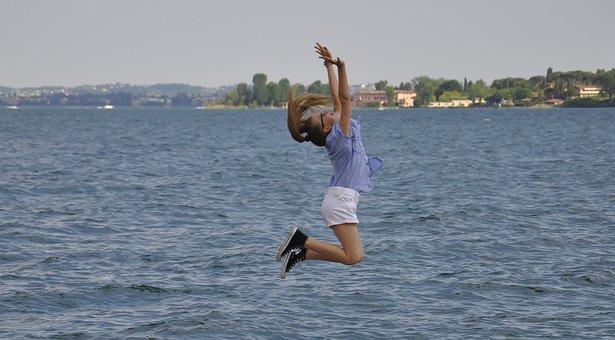 Balance, Jump, Body, Sport, Lake, Sky, Fun