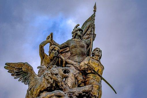 Statue, Bronze, Men, Young, Soldier, Hero, Antique