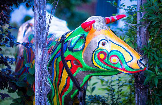 Cow, Colorful, Painted, Artwork, Decoration, Sculpture