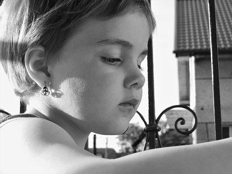 Child, Black, Portrait, Black And White, Eyes, Face