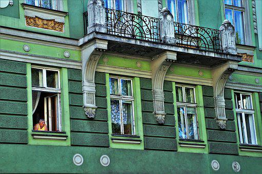 Old House, Facade, Old Windows, Colored Townhouses