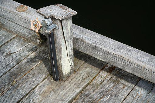Water, Tap, Dock, Weathered, Faucet, Wet, Blue, Gray
