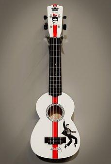 Ukulele, White, Black, Instrument, Elvis, Tribute