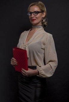 Lady, Secretary, Glasses, Ipad, Studio, Portrait