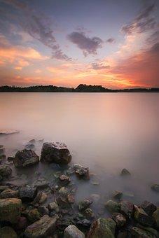 Landscape, Sunset, Stone, Long Exposure, Nature