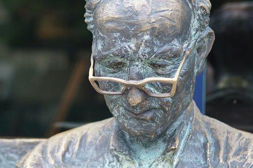 Statue, Man, Eye Glasses, Bronze, Read, A Serious, Art