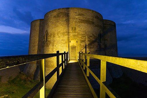 Martello, Tower, Fort, Coast, Night, Evening, Fortress