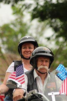 Memorial Day, Parade, Motorcycle, Man, Woman, Biker
