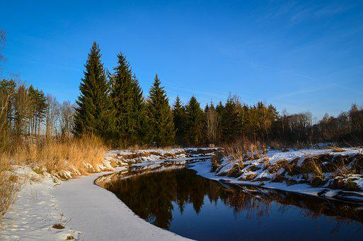 Winter, Hdr, River, Snow, Russia, Nature, Sky, White