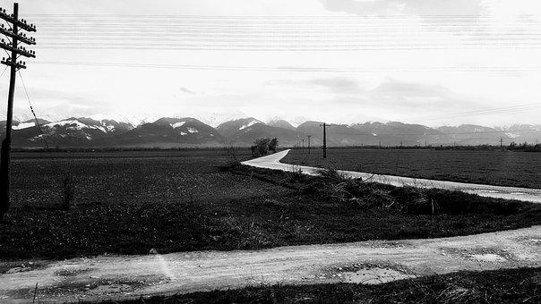 Rural, Mountain, Black And White, Romania, Landscape
