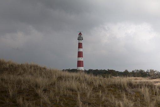 Lighthouse, Netherlands, North Sea, Sea, Beach, Holiday