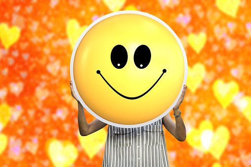 Smilie, Smiley, Woman Holding, Love, Yellow, Face