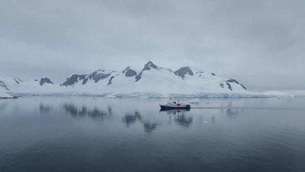 Antarctica, Ice, Snow, Sea, Sky, Mountains, Reflection