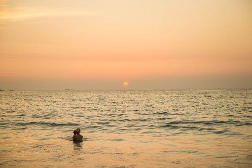 Thailand, Sea, Sunset, Mom, Baby, Nature, Sky