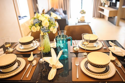 Dining Table, Plate, Together, Dining Room, Sample Room