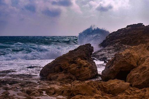 Rocky Coast, Sea, Waves, Sky, Clouds, Nature, Landscape