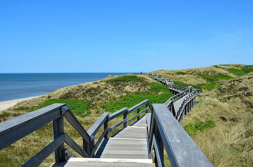 Sylt, Wenningstedt, Seetreppe, Stairs, Wood Stairs