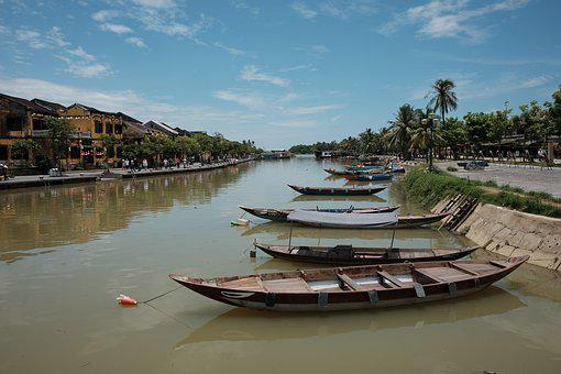 Boats, River, Asia