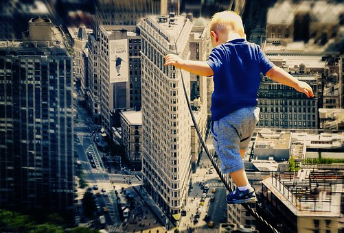 Child, Big City, Wire Rope, Acrobat, Boy, First Steps