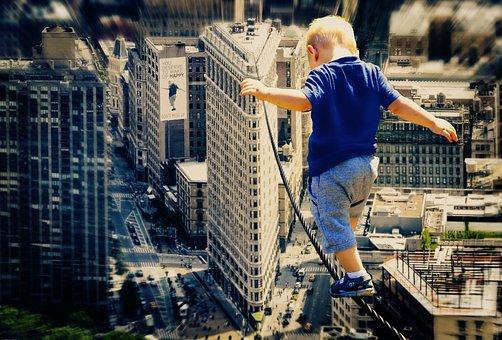 Child, Big City, Wire Rope, Acrobat, Boy, First Steps