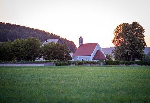 Cemetery, Chapel, Catholic, Church, Evening Sun