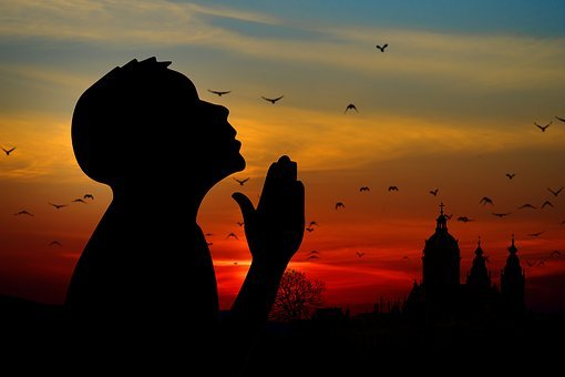 Religion, Faith, Pray, Man, Church, Sunrise