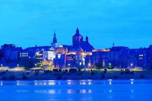 Landscape, Architecture, City, Grudziadz, Poland, River