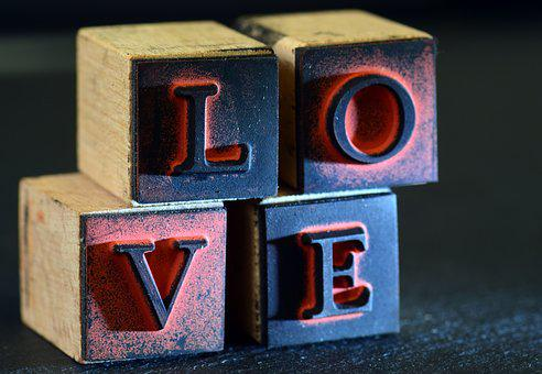 Love, Stamp, Old, Used, Cube, Letters, Stacked
