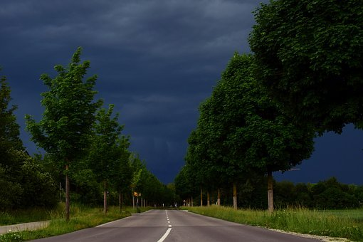 Road, Clouds, Storm, Thunderstorm, Dark, Threatening