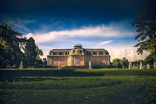 Castle, Beneath, Germany, Dusseldorf, Europe, Garden