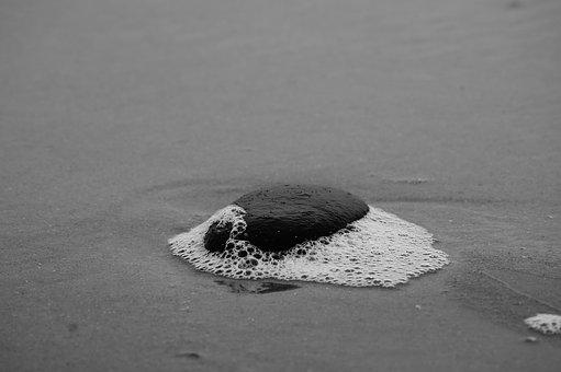 Sand, Beach, Stone, Black, White, Foam, Water