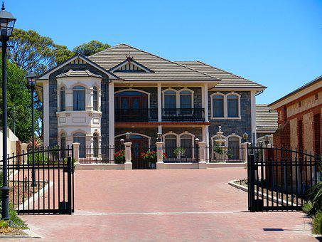 Mansion, House, Gates, Architecture, Home, Residential