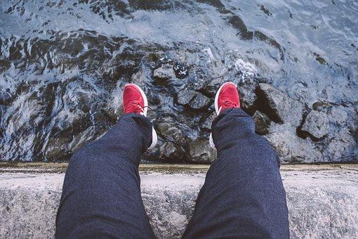 Sit, Top View, Legs, Water, River