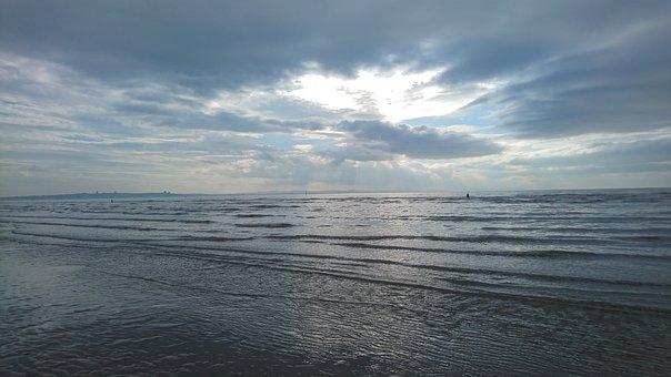 Liverpool, Crosby Beach, Beach, Sea, Water, Sky