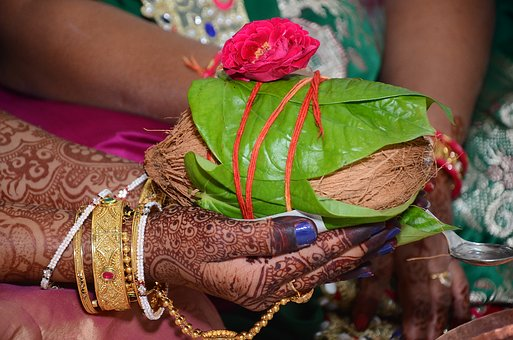 Wedding, Marriage, Indian, Hindu, Female, Male, Coconut