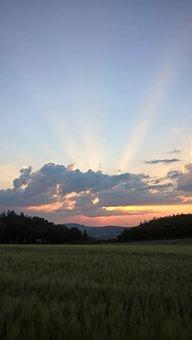 Sunset, Clouds, Sauerland, Remblighausen, Meschede, Sky