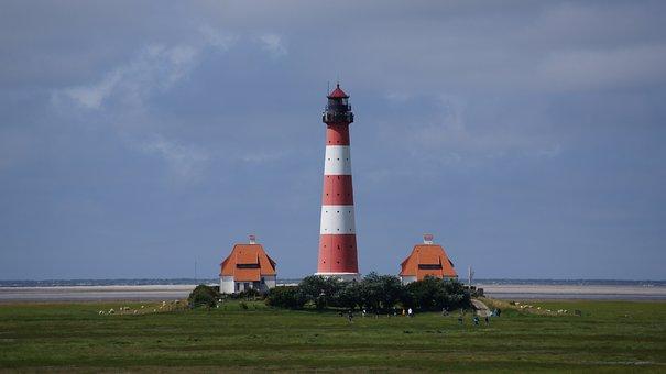 Westerhever, Lighthouse, North Sea, Nordfriesland