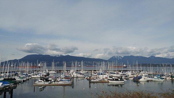 Bay, Boats, Sailing, Mountain, Vancouver, Canada, Ocean