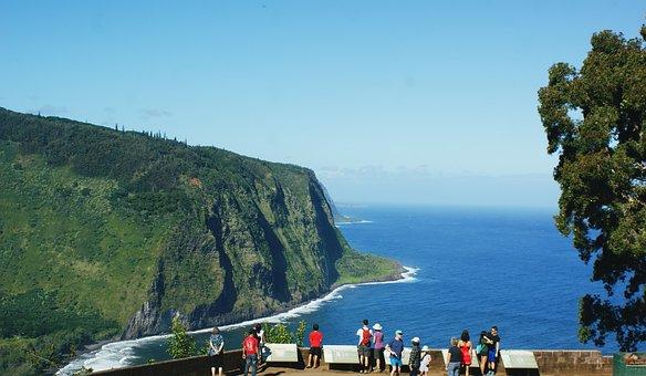 Waipio Valley, Valley, Tourists, Hawaii, Ocean, Nature