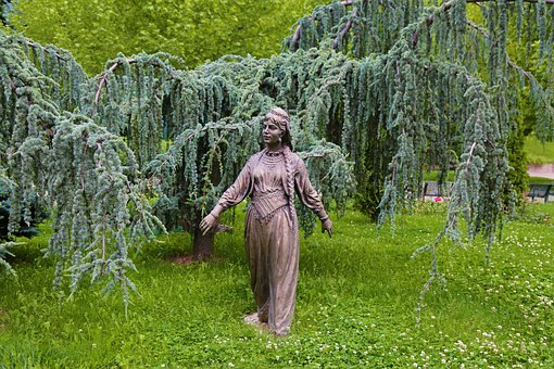 Sculpture, Peasant Girl, Park