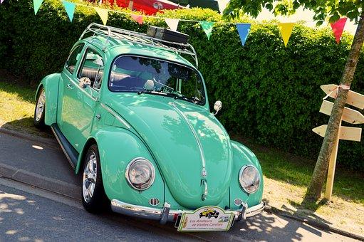 Volkswagen Beetle, Ladybug, Car, Retro, Vintage, Former