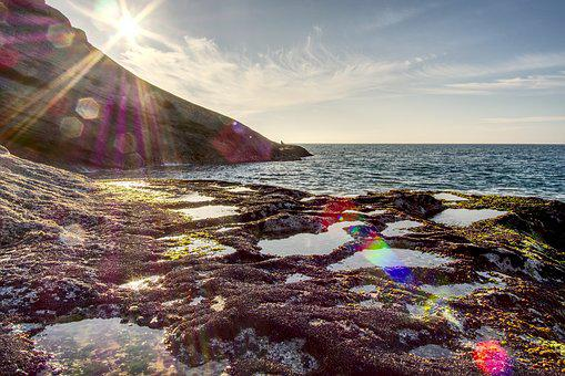 Sea, Ocean, Rocks, Sunset, Lens Flare, Blue, Wild