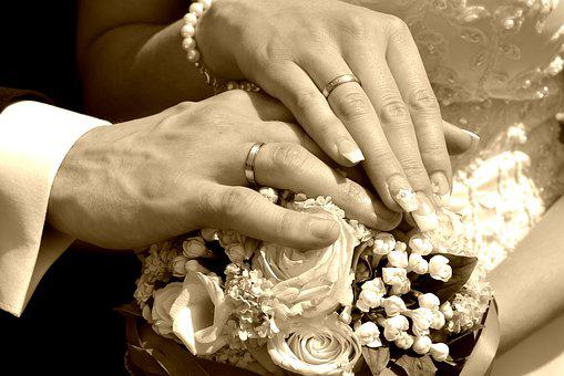 Wedding, Sepia, Retro, Beautiful Rose, Bride, Groom