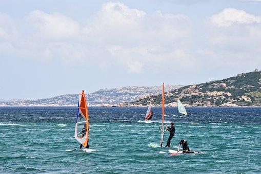 Windsurfing, Sea, Beach, Water, Sport, Action