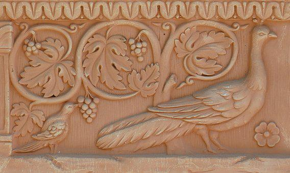 Terracotta, Image Bird, Grapes, Sound, Decoration
