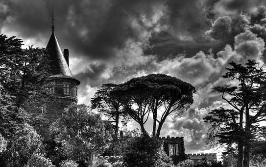 Castle, Sky, Tree, Dramatic, Cloud, Dark